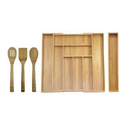 Oceanstar 5 Piece Bamboo Expandable Drawer Utensil Organizer Set
