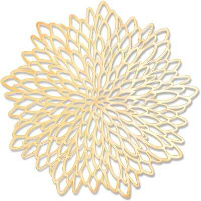 "10 Pieces 14.4"" Gold Leaf-Shaped Vinyl Placemats, Washable Table Mats Set for Party Decorations and Catering Events"