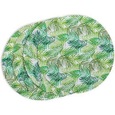 Round Green Woven Fern Leaf Table Placemat Dining Table Mat Set of 4 for Kitchen Party Decor 15-Inch