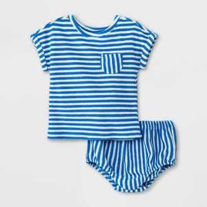 Baby Boys' Striped Loop Terry Top & Bottom Set - Cat & Jack Blue/Fresh White