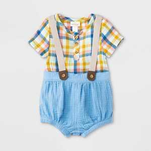 Baby Boys' Plaid Gauze Top & Bottom Set - Cat & Jack Blue
