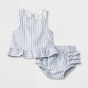 Baby Girls' 2pc Striped Lurex Poplin Elevated Top & Bottom Set - Cat & Jack White