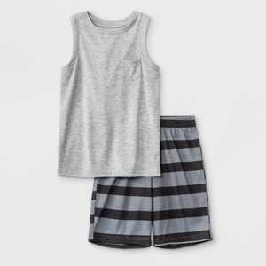 Boys' 2pc Striped Shorts Pajama Set - Cat & Jack Heather Gray