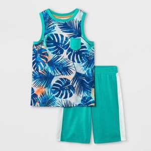 Boys' 2pc Leaf Print Tank Pajama Set - Cat & Jack Green
