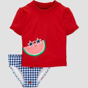 Toddler Girls' Watermelon Short Sleeve Rash Guard Set - Just One You made by carter's Red/Blue