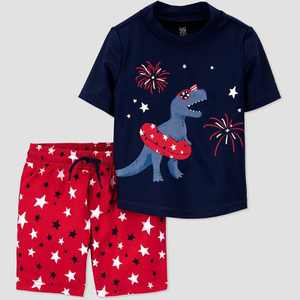 Toddler Boys' Short Sleeve Dino Americana Rash Guard Set - Just One You made by carter's Red/Blue