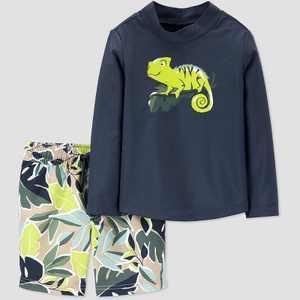 Toddler Boys' Chameleon Jungle Leaf Rash Guard Set - Just One You made by carter's Green/Navy