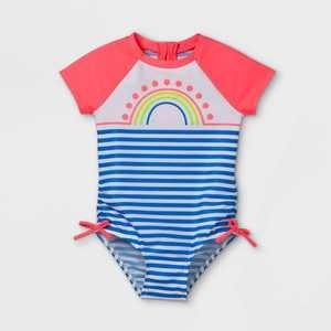 Toddler Girls' Rainbow Striped Short Sleeve One Piece Rash Guard Swimsuit - Cat & Jack