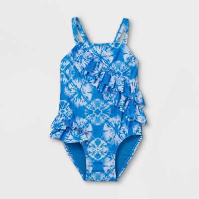 Toddler Girls' Tie-Dye Wrap Ruffle One Piece Swimsuit - Cat & Jack Blue