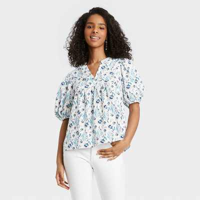 Women's Puff Elbow Sleeve Blouse - Universal Thread Floral