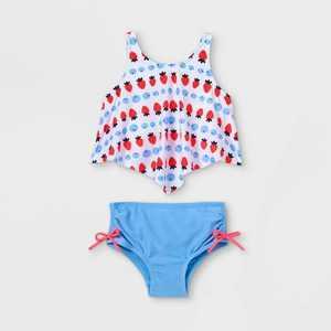 Toddler Girls' Strawberry Print Tankini Set - Cat & Jack White