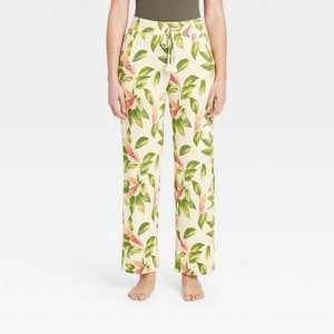 Women's Floral Print Beautifully Soft Pajama Pants - Stars Above Cream