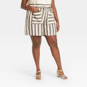 Women's Striped Shorts - Who What Wear Gray/White