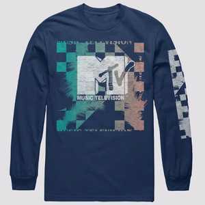 Men's MTV Grid Long Sleeve Graphic Crewneck T-Shirt - Navy