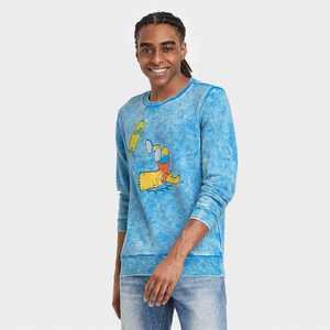 Men's The Simpsons Bart Skateboard Short Sleeve Graphic Crewneck T-Shirt - Blue