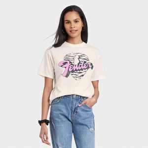 Women's Fender Zebra Pick Short Sleeve Graphic T-Shirt - Off-White
