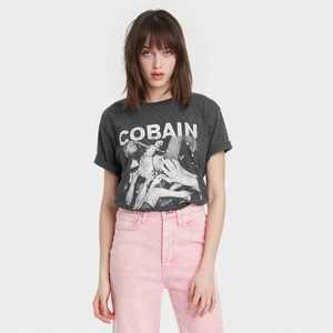 Women's Kurt Cobain Short Sleeve Cropped Graphic T-Shirt - Charcoal Gray