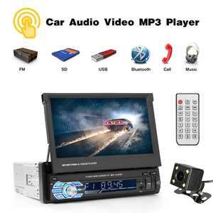 "Podofo Car Stereo audio Radio Bluetooth 1DIN 7"" HD Retractable Touch Screen Monitor MP5 SD FM USB Player Rear View Camera"