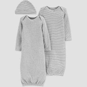 Baby Girls' 2pk Gown and Hat - Just One You made by carter's Gray
