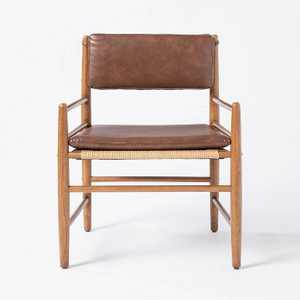 Layton Faux Leather Accent Chair with Wood Frame - Threshold designed with Studio McGee