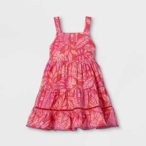 Toddler Girls' Floral Tiered Tank Dress - Cat & Jack Coral