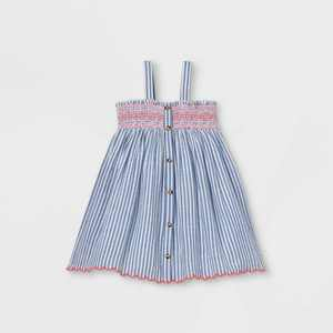 Toddler Girls' Striped Smocked Button-Front Tank Dress - Cat & Jack