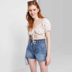 Women's High-Rise Button-Front Paperbag Waist Jean Shorts - Wild Fable