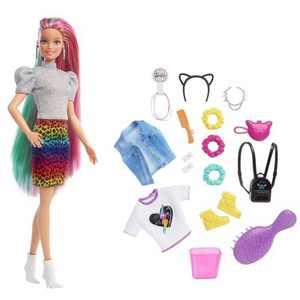 Barbie Leopard Rainbow Hair Doll - Rainbow Skirt