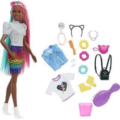 Barbie Leopard Rainbow Hair Doll - Animal Print Skirt