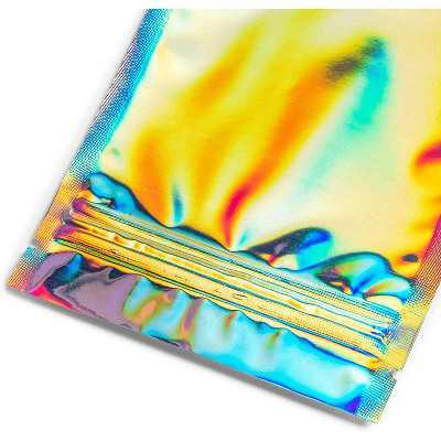 """120 Pack Resealable Smell Proof Bags, Holographic Zip Packaging for Small Gifts, Candy, Food Storage, 4.7"""" x 3.5"""""""