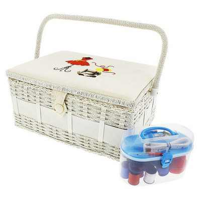 Juvale Vintage Sewing Basket Organizer with Sewing Kit Accessories (13 x 9 x 6 Inches)