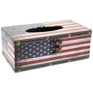 Juvale American USA Flag Rectangular Tissue Box Wood Cover Holder, Red White and Blue, 10 x 6 x 4 inches