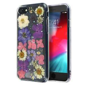 Insten Floral Case For iPhone SE 2020 (2nd Gen), Glitter Crystal Pressed Dried Real Flowers Soft TPU Cover, Pink Purple