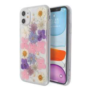 Insten Floral Case For iPhone 11 (6.1 inch), Glitter Crystal Pressed Dried Real Flowers Soft TPU Cover, Pink Purple