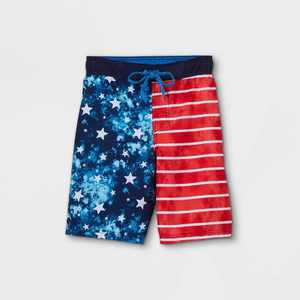Boys' American Flag Tie-Dye Swim Trunks - Cat & Jack Blue