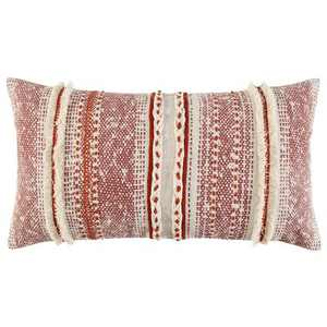 """14""""x26"""" Oversized Poly Filled Striped Lumbar Throw Pillow Rust - Rizzy Home"""