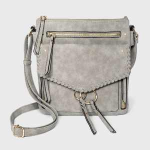 VR NYC Braided O-Ring Messenger Crossbody Bag - Light Gray