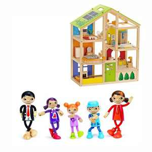 Hape All Season 6 Room Furnished Kids Children Preschool Dollhouse Bundle with Modern Family of 5 Wooden Bendable Posable Toy Doll Set