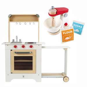 Hape Interactive Kids Childrens Wooden Pretend Play Kitchen Toy Set Bundle with Mix and Bake Blender Pretend Kitchen Stand Mixer Play Set
