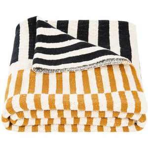 """Lupin Throw Blanket - Mustard/Beige/Black - 50"""" X 60"""" - Safavieh"""