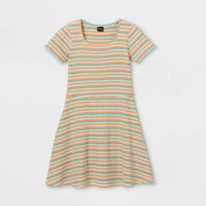 Girls' Square Neck Short Sleeve Ribbed Dress - art class