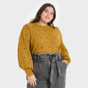 Women's Polka Dot Balloon Sleeve Crewneck Pullover Sweater - Who What Wear