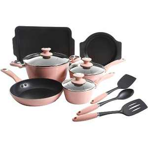 Oster 12 Piece  Forged Aluminum Induction Stove Top Non Stick Home Kitchen Frying Pan and Pot Cookware Set, Dusty Rose