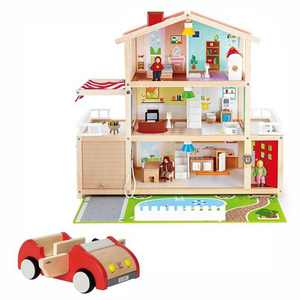 Hape Kids 10 Room Extravagant Wooden Family Play Mansion Doll House Bundle with Wooden Dollhouse Family Play Toy Car Accessory for Ages 3 and Up