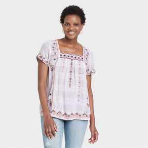 Women's Plaid Short Sleeve Embroidered Top - Knox Rose Ivory