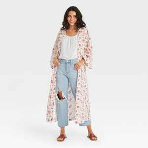 Women's Woven Floral Print Duster - Universal Thread™ Cream One Size