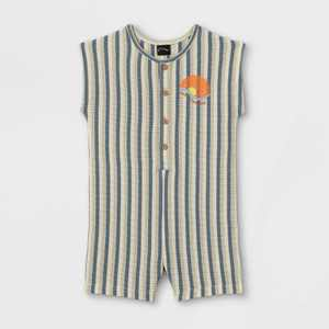 Toddler Boys' Striped Button-Front Romper - art class Blue