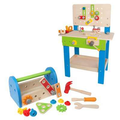 Hape Wooden Kids Master Workbench Toy Bundle with Fix It Tool Box Kids Toddler Preschool Wooden Construction Toy Play Set for Kids 3 Years and Up