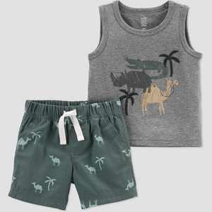 Baby Boys' Safari Top & Bottom Set - Just One You made by carter's Olive