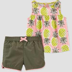 Baby Girls' Pineapple Top & Bottom Set - Just One You made by carter's Olive